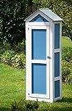 dobar schweres Gerätehaus aus Holz, Gartenschrank schon fertig aufgebaut, 61,5 x 41,5 x 185 cm,  blau / weiß