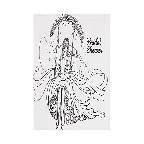 JKOVE Home Garden Bridal Shower Decorations Sketchy Hand Drawn Bride with Floral Swirls Swing Image Black and Whiteoror Deko Süße Garten Flagge