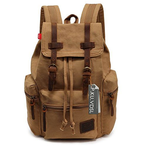 Canvas Backpack P Ku Vdsl Augur Series Vintage Canvas Leather Backpack  Hiking Daypacks Computers Laptop Backpacks Unisex Casual Rucksack Satchel  Bookbag ... f56f9eea495b9