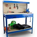 BITUXX Werktisch Werkbank Arbeitstisch Arbeitsplatte Lochwand Schublade Werkstatt 115 x 55 x 140 cm