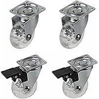Ruedas para muebles ruedas de transporte 2con freno y 2sin freno, 4unidades, φ50mm, transparente