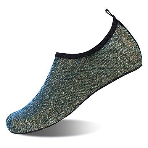 HMIYA Badeschuhe Strandschuhe Wasserschuhe Aquaschuhe Schwimmschuhe Surfschuhe Barfuß Schuhe für Damen Herren(Dunkelgrün,Gr.45-46 EU/Herstellergröße: 46-47)
