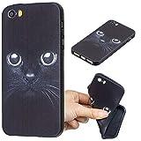 Carols iPhone 5 5S 5G / iPhone SE Custodia, [Black] Cover Case Bumper Caso Matte Matte Silicone Gel per iPhone 5 5S 5G / iPhone SE - Gatto