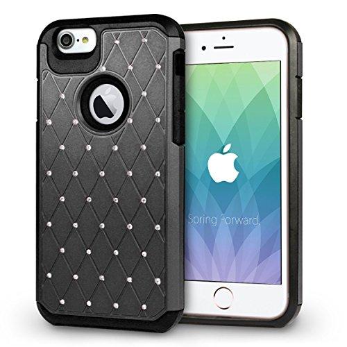 iPhone 8 Hülle, Orzly® Duo-Armour Shimmer Hülle für das iPhone 8 / iPhone 7 - Strassbesetzte zweiteilige Schutzhülle / Handyhülle / Case / Cover für das iPhone 8 / iPhone 7 (4.7 Zoll Modell) in ROSA SCHWARZ Shimmer DuoArmour für iPhone 7