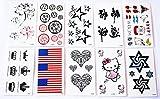 wolga-kreativ Tattoo Set 10 Bogen wie Hauptbild Blume Stern Flagge Herz Krone Maus Schriftzug Mops Comic temporäre Tattoos (temporäre Transferfolie, hautfreundlich)