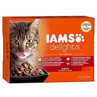 IAMS Delights Wet Food Sea Collection for Adult Cats with Fish in Jelly, 12 x 85 g 13