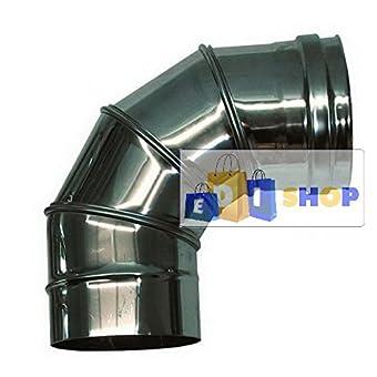 CHEMINEE PAROI SIMPLE TUYAU TUBE INOXIDABLE AISI 316 - dn 180 curva regolabile 0-90° canna fumaria tubo acciaio inox 316 parete semplice
