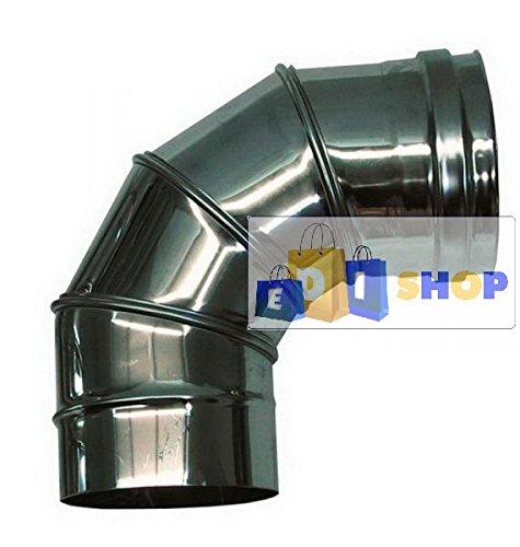 CHEMINEE PAROI SIMPLE TUYAU TUBE INOXIDABLE AISI 316 - dn 200 curva regolabile 0-90° canna fumaria tubo acciaio inox 316 parete semplice