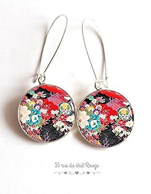 boucles d'oreilles cabochon en résine, motif japonais, art floral japon, fleurs, seigahia, multicouleur