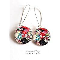 orecchini in resina cabochon, motivi giapponesi, arte floreale giapponese, fiori, seigahia, multicolore
