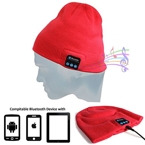 DMG Wireless Bluetooth Unisex Bluetooth Beanie Hat Winter Warm Cap with Built in Wireless Stereo Speaker Headphone for Outdoor Sport (Red)