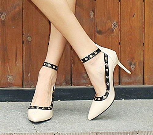 Mee Shoes Damen Ankle strap high heels mit Nieten Pumps Aprikose