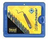 Idena 60040 - Wachsmaler Box blau, 10 Stück, mit Schiebehülse