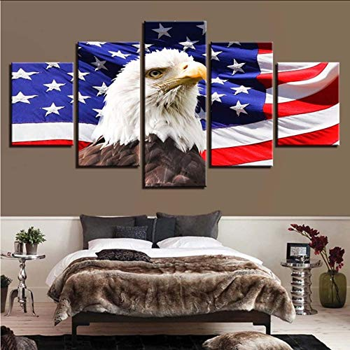 Wuwenw Canvas Painting Hd Prints Home Decor 5 Pieces American Flag Wall Art Modular Animal Eagle Picture For Living Room Artwork Poster,12X16/24/32Inch,Without Frame