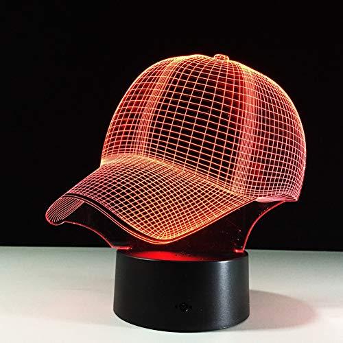 MLSWW 3D Nachtlicht Baseball Cap 3D LED Schreibtischlampe touch Nachtlicht 7 Farben Ändern Schlaflampe Licht 3D Hut Tischlampen Für Sport Hut