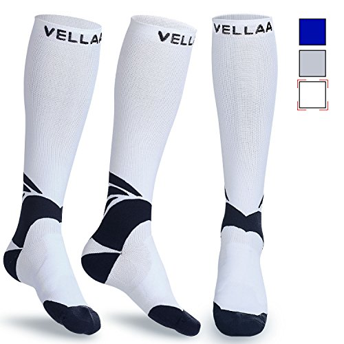 Kompressionsstrümpfe für Damen Herren, VELLAA Kompressionssocken Socken für Laufsport, Flugreisen, Medizin, Laufen, Sport, Blutzirkulation, Erholung, Reisen, Schwangerschaft & Medizinische Zwecke