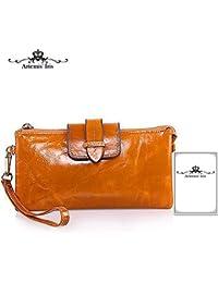 Artemis'Iris Womens Large Capacity Wallet 2-In-1 Function Shoulder Bag Handbag Zipper Money Cards Phone Holder Wax Leather Long Purse