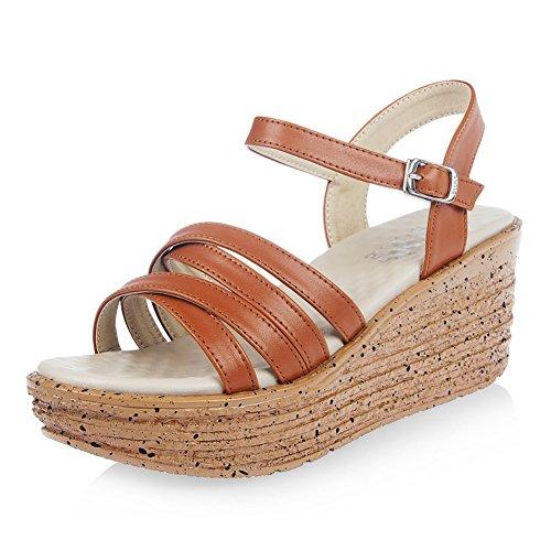 confortable coin sandales/summer chaussures à bout ouvert avec des talons hauts/chaussures muffin avec Luo Manan/chaussures d'été C