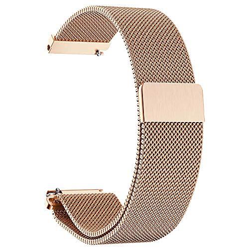 Bracelet de Montre en Or Rose 16mm milanese Boucle Mens Femmes Remplacement 16mm Purge milanese Bracelets de Montre en Acier Inoxydable métal