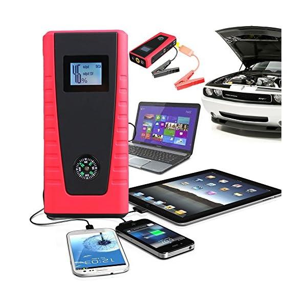 Indigi® Jump Starter Power Bank Cargador de batería de emergencia coche Jump Starter SOS Luz Jumper Cable Incluido (Negro)