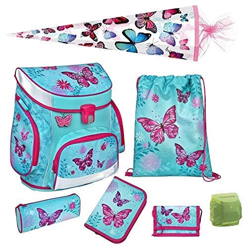 Familando Scooli Butterfly Schulranzen-Set 7tlg. Campus Fit mit Schultüte 85cm Schmetterling-e und Blumen türkis Mädchen-Schulranzen Schulanfang -