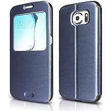Funda Galaxy S6 Arbalest® Funda Galaxy S6 , Cepillado Textura Flip View Leather Cover Elegante Funda de Piel PU Carcasa Protctora Para el Samsung Galaxy S6 - Smartphone ,Azul Oscuro