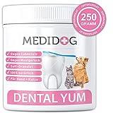Medidog Dental YUM 250g Extra Stark gegen Mundgeruch, Zahnsteinentferner und Verfärbungen, Zahnpflege für Hunde und Katzen, Softgranulat besser als Zahnpulver, kombinierbar mit Fresh&Clean Dentalspray
