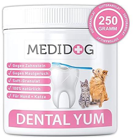 Medidog Dental YUM 300g Zahnpflege Granulat für Hunde effektiv gegen Mundgeruch und Zahnstein Zahnsteinentferner für den…