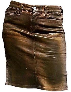 Fornarina Mujer Falda Marrón Model Ingle encerado piel óptica sexy stretch Jeans Top oferta