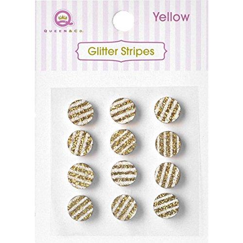 Queen und Co Queen und Co gestreift Glitzer Punkte 8mm selbstklebend 1-yellow, andere, mehrfarbig