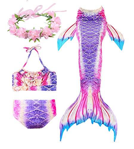 Meerjungfrau Grün Kostüm Schwanz - HiFunBay mädchen Meerjungfrau Schwanz Kinder Schwimmen Kostüm Enthalten 3 STÜCKE Bikini Badeanzug und Blumengirlande Stirnband (DH21-B07,110)
