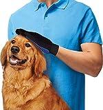 Longwu Gant de brosse à main pour animaux de compagnie Silicon avec outil de massage à 5 doigts Retirer les cheveux supplémentaires 2PCS / One Pair Bleu...