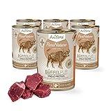 AniForte Hundefutter Büffel Pur 6 x 400g für Hunde, Nassfutter ohne künstliche Vitamine oder Chemie, Barf Futter