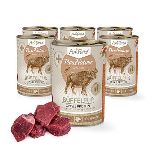 AniForte® PureNature Hundefutter Büffel Pur 6 x 400g - Naturprodukt für Hunde
