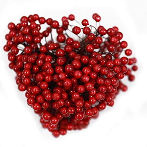Outgeek 250 Stems Christmas Berry Decorative Foam Artificial Berry DIY Party Decor