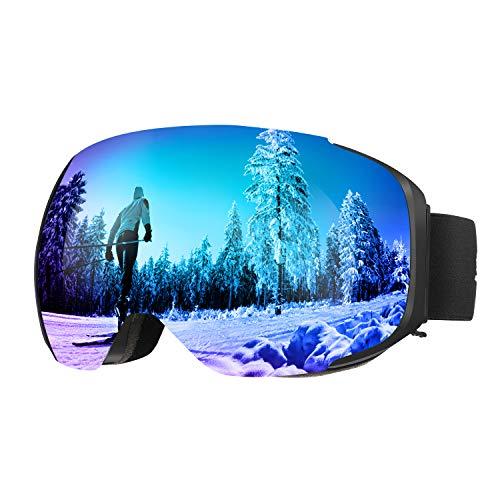 ENKEEO Occhiali da Sci Lente Magnetica Staccabile Doppio Strato Anti-Nebbia Anti-Vento 100% Protezione UV400, Telaio Curvabile, Schiuma 2 Strati (Blu)