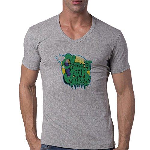 Graffitti Hip Hop Rap Street Art Studios Green Herren V-Neck T-Shirt Grau