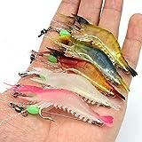 OriGlam 5pcs Soft Luminous Shrimp Lure Set, 5 Colours Shrimp Bait Shrimp Lures Fishing Kit Fishing Bait with Hooks Beads Fish