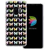 mobilefox® dessana Aquarell Tier Pattern Transparente Silikon TPU Schutzhülle 0,7mm dünne Handy Tasche Soft Case für Samsung Galaxy S9 Schmetterling