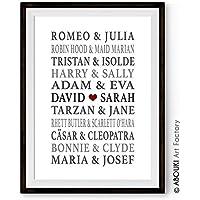 ABOUKI Traumpaar Nr. 6 - Berühmte Paare, personalisierter Kunstdruck mit Wunschnamen - ungerahmt - Fine-Art-Print Poster, Hochzeitsgeschenk, Geschenkidee