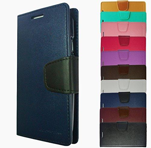 Für Samsung Galaxy Book Tasche Handy Hülle Etui Flip Cover Klapptasche Galaxy Alpha G850 Schwarz + Displayschutzfolie Blau