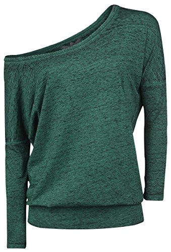 Black Premium by EMP Burnout Ladies Tee Manica lunga donna verde XL