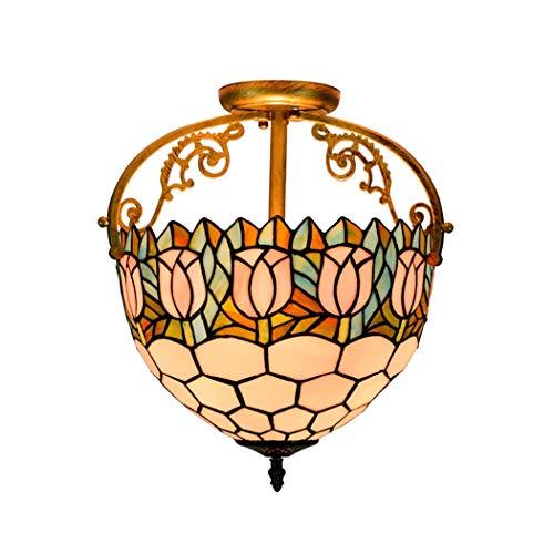 Lampadario vittoriano a 2 luci in stile tiffany, disegno floreale a tulipano con paralume in vetro colorato, antico lampadario a sospensione per soggiorno in camera da letto