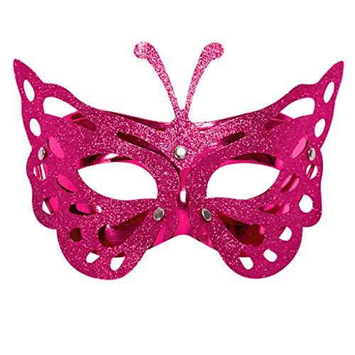 iYmitz Karnevals Maske Venezianische Schmetterling Maskerade Grimasse Fasching Masken Spitze Partys Kostüm Halloweenmaske(Hot pink,One size)