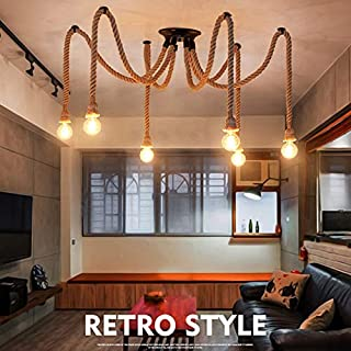 E27 Hemp Rope Multiple Lights Holder Creative Antique Classic Edison Lamp Ajustable DIY Ceiling Spider Lamp Light (No Bulbs)-6 Lights