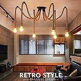 Base lampadine lampadario pendente Lampada a sospensione 6 luce,Lampadario in bambù e corda di canapa (6 lights)