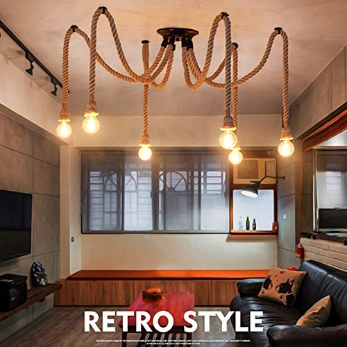 Lámpara de techo antiguo que cuelga la iluminación Edison Lámpara de araña de techo ajustable multi DIY