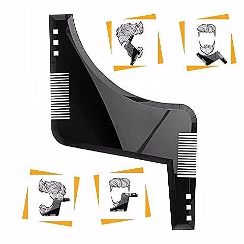 YUMSUM Bart Shaping Vorlage Schnurrbart Trimmer Shaper Werkzeug ABS Bartkamm -Curve Cut, Step Cut, Ausschnitt, Goatee für Herren Haar Bart Trimmen (Ausschnitte Vorlage)