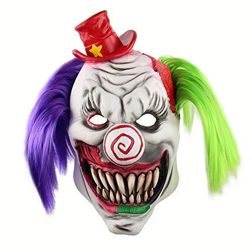 Halloween Latex Maske Gruselig Rot Hut Clown Mit Grünem Lila Haar 3D Deluxe Neuheit Kostüm Partei Cosplay Spielzeug Eine Größe