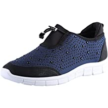 ByPublicDemand Pearl para mujer plana Slip On cordón diamante Trainers
